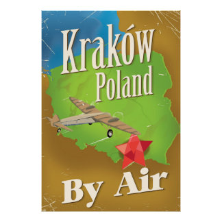 Kraków Poland vintage flight travel poster