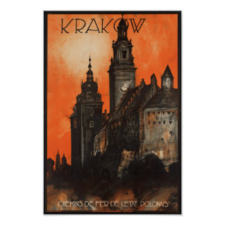 Krakow Poland - Vintage Polish Travel Poster