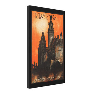 Krakow Poland - Vintage Polish Travel Poster Canvas Print