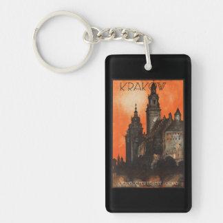 Krakow Poland - Vintage Polish Travel Poster Rectangle Acrylic Keychain