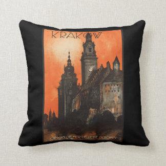 Krakow Poland - Vintage Polish Travel Poster Pillow