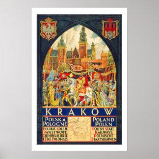 Krakow Poland Vintage Travel Poster