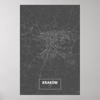 Kraków, Poland (white on black) Poster