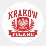 Kraków Polonia Pegatinas Redondas