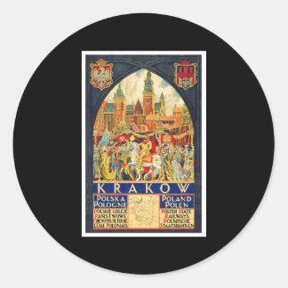 Krakow Polska Pologne Classic Round Sticker