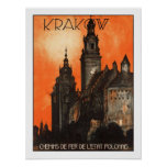 Krakow Vintage Travel Poster