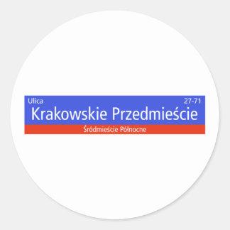 Krakowskie Przedmiescie, Warsaw, Polish Street Sig Classic Round Sticker