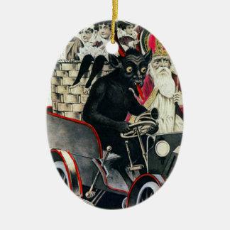 Krampus and Saint Nicholas Ceramic Ornament