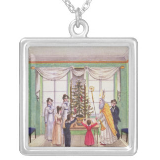 Krampus and St. Nicholas from journal of Carl Silver Plated Necklace