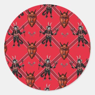Krampus Box Design Classic Round Sticker