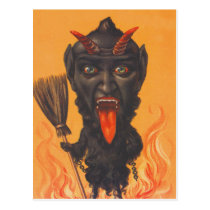 Krampus Broom Hell Chains Postcard