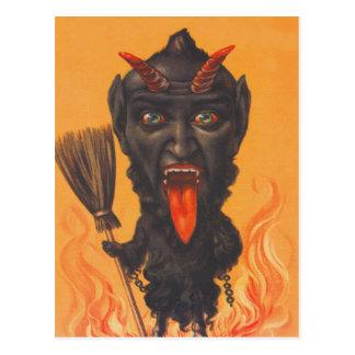 Krampus Broom Hell Chains Postcard