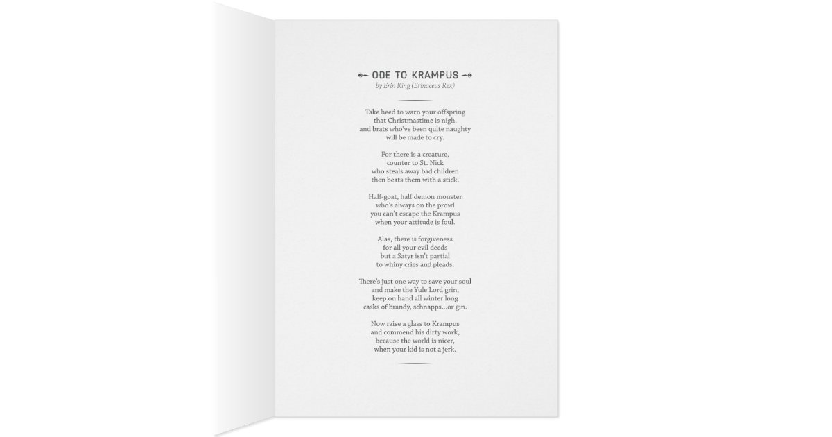 Krampus Card With Funny Poem Zazzle