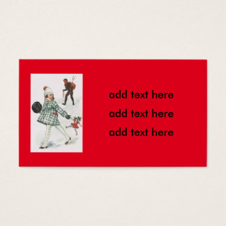 Krampus Chasing A Little Girl With Doll Business Card