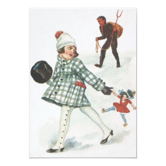Krampus Chasing A Little Girl With Doll Card