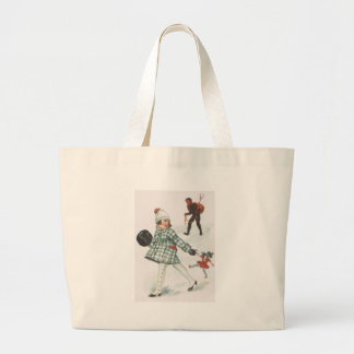 Krampus Chasing A Little Girl With Doll Large Tote Bag