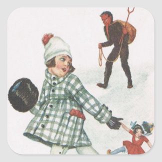 Krampus Chasing A Little Girl With Doll Square Sticker