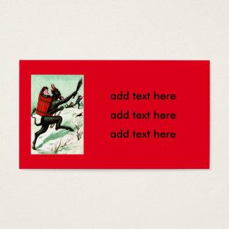 Krampus Chasing Bad Children Winter Snow Business Card