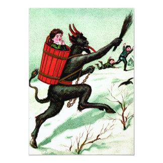 Krampus Chasing Bad Children Winter Snow Card