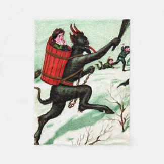 Krampus Chasing Bad Children Winter Snow Fleece Blanket