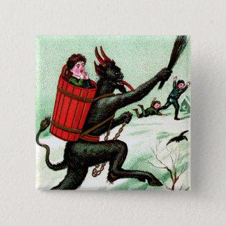 Krampus Chasing Bad Children Winter Snow Pinback Button