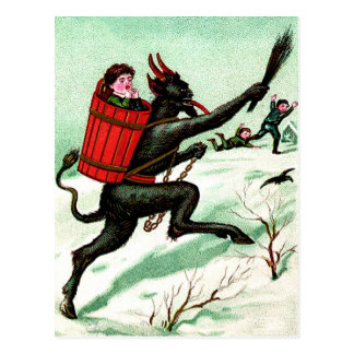 Krampus Chasing Bad Children Winter Snow Postcard