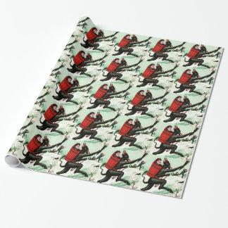 Krampus Chasing Bad Children Winter Snow Wrapping Paper