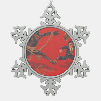 Krampus Chasing Boy Snowflake Pewter Christmas Ornament