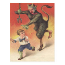 Krampus Chasing Child Postcard