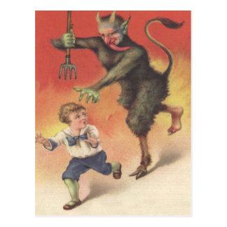 Krampus Chasing Child Postcard
