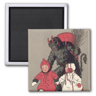 Krampus Chasing Children Switch Magnet