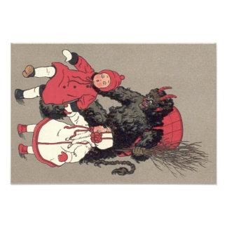 Krampus Chasing Children Switch Photo Print