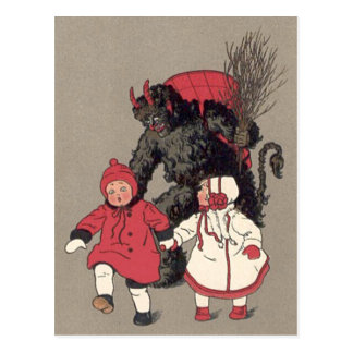 Krampus Chasing Children Switch Postcard