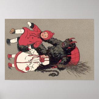 Krampus Chasing Children Switch Poster