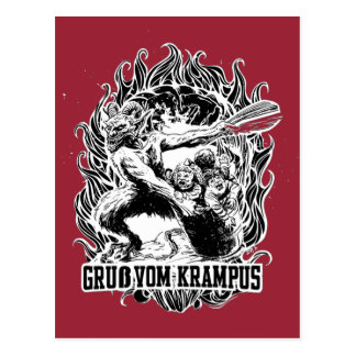Krampus Christmas in Black Postcard
