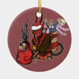 Krampus cogió el ornamento travieso de los niños adorno navideño redondo de cerámica