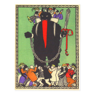 Krampus Collecting The Bad People Postcard
