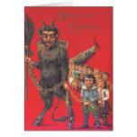 Krampus con los malos niños tarjeta de felicitación