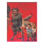 Krampus con los malos niños tarjeta postal