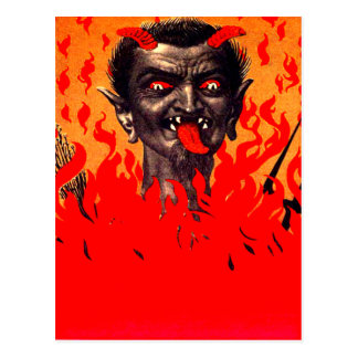 Krampus Emerging From Hell Postcard
