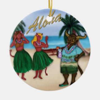 Krampus en el ornamento de las vacaciones adorno redondo de cerámica