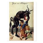 Krampus & His Sack 2 Postcards