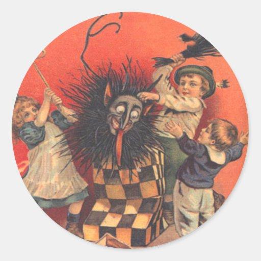 Krampus Jack-In-A-Box Classic Round Sticker