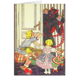 Krampus Kidnapping Bad Children Card