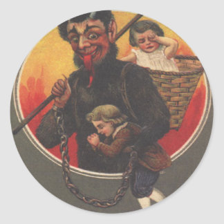 Krampus Kidnapping Boy & Girl Classic Round Sticker