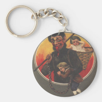 Krampus Kidnapping Boy & Girl Keychain