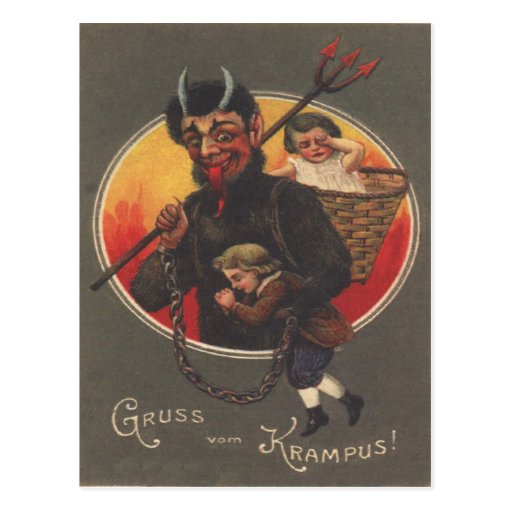 Krampus Kidnapping Boy & Girl Post Cards