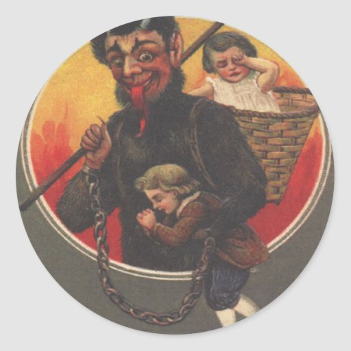 Krampus Kidnapping Boy & Girl Stickers