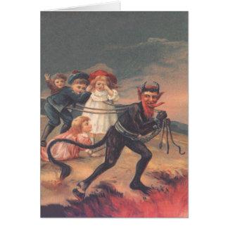 Krampus Kidnapping Children Greeting Cards