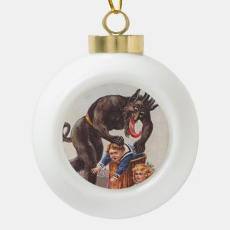 Krampus Kidnapping Children Ceramic Ball Christmas Ornament